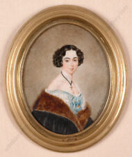 """Adolf Theer (1811-1868) """"Portrait of a young Lady"""", Miniature, ca.1850"""