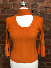 Y London Orange Fine Knit Ribbed Roll Neck Keyhole Jumper - Size 10 Cosy