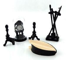 Dolls House Victorian Fireplace Companion Set & Clock Black Miniature Accessory