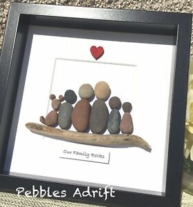 Personalised Pebble Art Family picture. Christmas  Birthday Decor. Gift stones