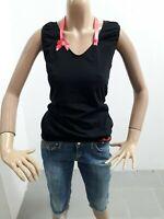 Maglia LIU JO Donna T-Shirt Woman Polo Femme Taglia S Cotone Giromanica Nero8485