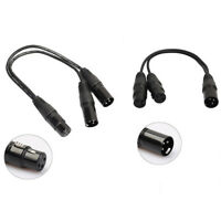 New 3pin XLR Female jack to dual 2 Male Plug Y Splitter Cable Adaptor 1 ft GVUS