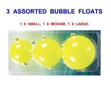 3 YELLOW BUBBLE FLOATS,SMALL,MEDIUM,LARGE,GAME COARSE SEA FISHING TROUT,PIKE