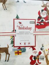 Pottery Barn Kids Merry Santa Queen Sheet Set Christmas Organic COTTON Percale