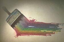 Rare Vintage Iron On Heat Transfer Sparkly Rainbow Dripping Paint Brush Art
