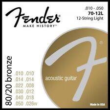 1 Juego de nuevos Fender 70-12L 12 Cuerdas Guitarra Acústica Cuerdas .010 - .050 80/20