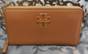 Tory Burch ~ Pebbled Leather BRITTEN ZIP CONTINENTAL Wallet ~BARK~BROWN~NWT $228