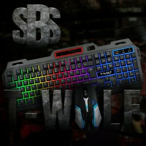 USB GAMING KEYBOARD AND MOUSE   SBS T-WOLF SERIES 1   MECHANICAL BACKLIT LED