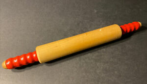 Vintage Red Handle Wood Wooden Rolling Pin - Farmhouse Style - Decorative Handle
