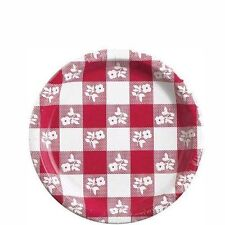8 3/4 IN PAPER P;ATE Backyard Bar-B-Q Checkered RED Gingham Party Supplies 6-2B