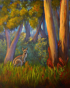 Original acrylic painting Australian animals Kangaroo in bush