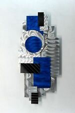 Metal Abstract Modern Art Deco Wall Art Sculpture  - Blue Impulse by Jon Allen