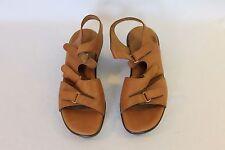 SAS Tripad Comfort Brown Leather 3 Strap Wedge Sandals Womens Size 9.5 M