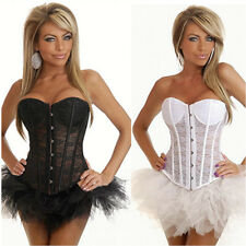 Burlesque Lace Corset & Tutu /Skirt Fancy Dress Moulin Rouge Can Can Outfit 6-16