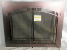 """Stoll Glass Fireplace Bi-Fold Arched Doors Burnished Copper Finish 35"""" x 28.5"""""""