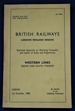 BR LMR Sectional Appendix to Working Timetable (Western Lines) 1960
