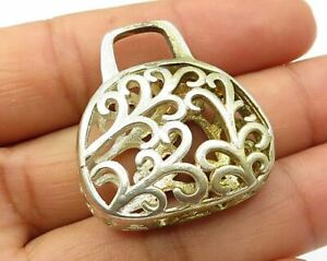 925 Sterling Silver - Vintage Filigree Caged Purse Detail Decor Piece - T1200