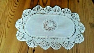 10 X 7 Inch Oval Frilly Edge White Table Linen Centerpieces Cotton Fabric New