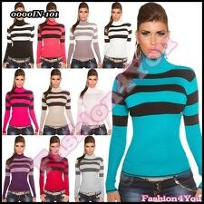 Sexy Women's Striped Jumper Ladies Turtleneck Sweater One Size 8,10,12,14 UK