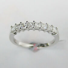 In 18K White Gold with Air Line 0.65 ct Princess Cut Diamond Wedding Band