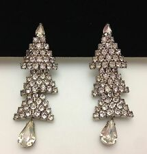 Vintage Signed WEISS Clear Rhinestone CHRISTMAS Tree Dangle Clip on Earrings