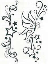 DESIGNER LARGE SHEET ~ BUTTERFLY AND STARS temporary Tattoo lower back tramp