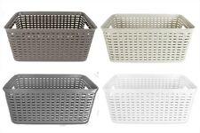 Rattan Style Rectangle Plastic Kitchen Home Garden Storage Fruit Basket