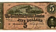 "$5 ""CONFEDERATE""  (BLUEBACK) ""1800'S"" $5 RARE ""BLUEBACK"" (SUPER CRISPY)!!! NICE!"