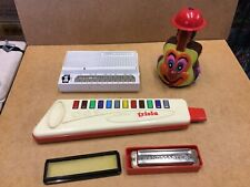 Vintage Toy Instruments Lot inc. STYLOPHONE by Dubreq, Triola & Harmonica 1970's