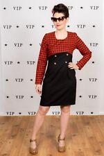 Vintage Rojo y Negro a Cuadros Vestido Shift Rockabilly Formal desgaste de la oficina