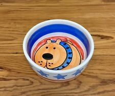 Dog Food Bowl Colorful Stoneware Dog Face Bowl Italy Italian Made Heavy Weight