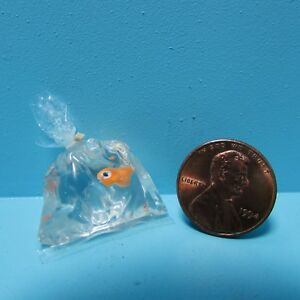 Dollhouse Miniature Orange Goldfish Fish in Water Bag Won at the Fair RND258