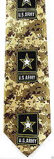 Army Camo Star Mens Neck Tie Military Necktie US Soldier Camouflage Tan Gift New