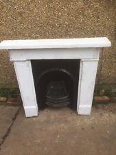 Original Victorian Cast Iron Insert And Portland Stone Surround Fireplace
