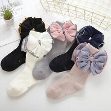Girls Kids Childrens Big Bow Wedding Party Knee High Socks 2 -10 years