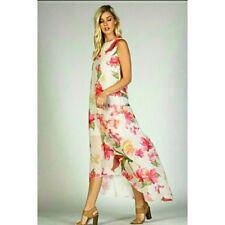 Floral print hi low ivory chiffon maxi dress Brand new retail boutique
