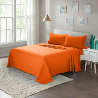 Bed Sheet Set 4-Piece Twin Full Queen King Brushed Microfiber 1800 Count, Orange