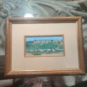 Original oil painting by PAUL SURBER - Native American Indian Village