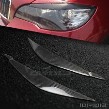 Carbon Fiber Eyelids Eyebrows Headlight Cover Trim for BMW E71 X6 2008-2014 PAIR