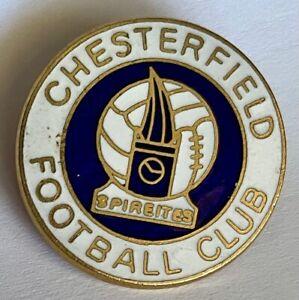 CHESTERFIELD FC BADGE SPIREITES VINTAGE ENAMEL FOOTBALL BADGE BROOCH FITTING
