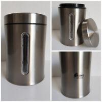 Vorratsdose Rund 1,4 l Kaffedose Frischhaltedose Edelstahl Fensterdose