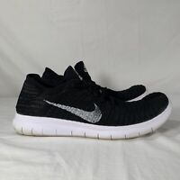 Nike Free RN Flyknit  Running Shoes Black White 831069 001 Mens Size 10
