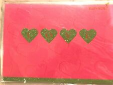 NEW Lovely Papyrus Valentine's Day Card Green Glitter LOVE YOU Hearts on Pink