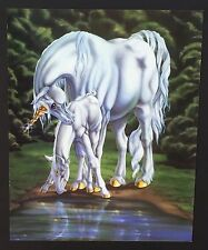 Fantasy White Unicorn and Baby at Water Vintage Poster / Print 16 x 20
