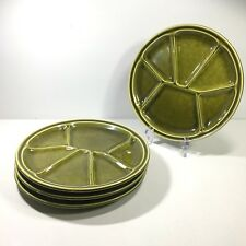 "Set of 4 Gien France Fondue Divided Plates 8.5"" Green Ceramic"