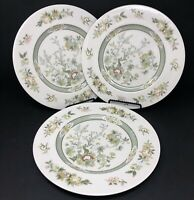 Set of 3 Royal Doulton Fine China TONKIN Cream Green Floral Dinner Plates 1974