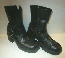 Womens Size 6 HARLEY DAVIDSON Black Leather Calf Boots - Straps & Buckles