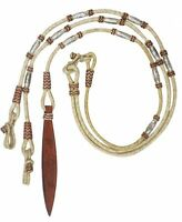 Western Horse Braided Leather Romal Romel Reins w/Silver ferrules + Leather Quir