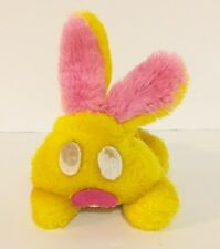 "Vintage 1974 Wallace Berrie Wiggles 5"" Plush Bunny Rabbit Yellow Pink Pine Nut"