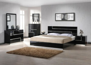 Lucca Bedroom Set in Black Finish by J&M King Size 5 Piece